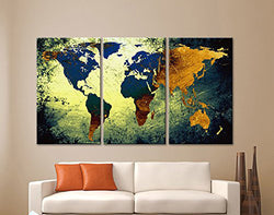 3 Panel Vintage World Map Canvas Painting Oil Painting Print On Canvas Home Decor Wall Art Wall Picture For Living Room Framed
