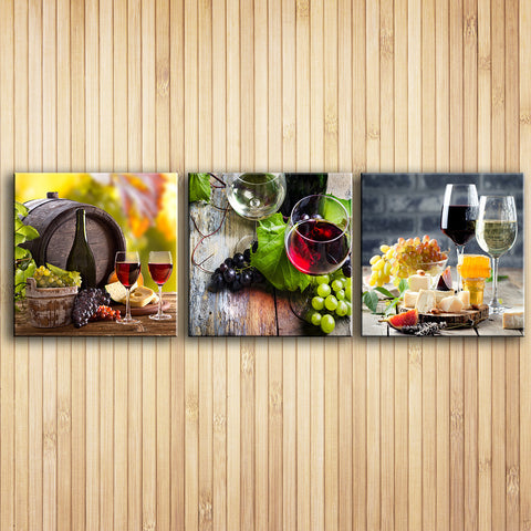 3 Panels paintings for the fruit wine glass wall decor modern canvas ...