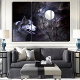 3 piece canvas painting wolf in moon night HD posters and prints canvas painting for living room free shipping XA-1901C