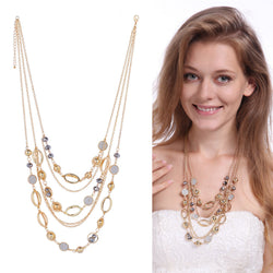 Multilayer Beads Rhinestone Tassel Crystal Pendant Necklace For Women