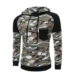 Men's Camouflage Splice Hoodies Camo Slim Fit Sports GYM Casual Pullover Cotton Blended Tops