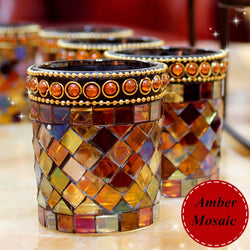 Handcrafted Amber Mosaic Glass Candlestick Candle Holder Candelabra Home Wedding Decor Gift