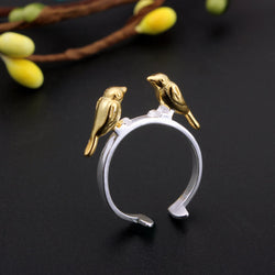 S925 Sterling Silver Ring Bird Gold Ring Smooth Opening Finger Ring For Women