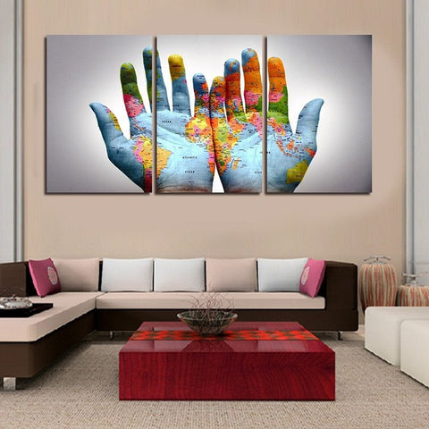 3pcsset modern abstract wall art painting palm world map in hand 3pcsset modern abstract wall art painting palm world map in hand canvas painting for gumiabroncs Gallery