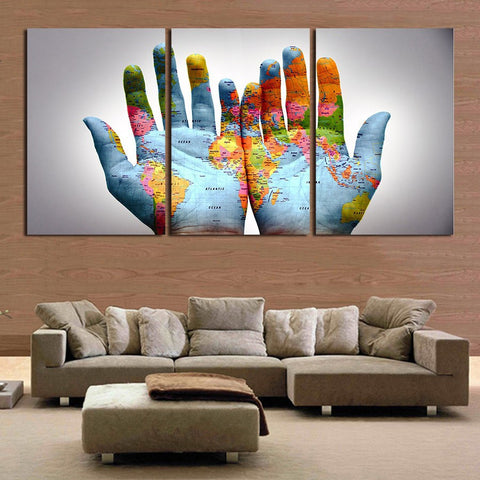 ... 3pcs/set Modern Abstract Wall Art Painting Palm World Map In Hand Canvas  Painting For ...