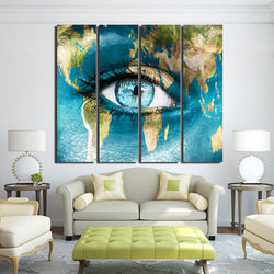 4 Panel Framed HD Printed Blue World Map Face Eyes Wall Art Picture Modern Home Decor Living Room Canvas Painting