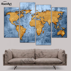 4 Piece Canvas Art Vintage World Map Painting Home Decoration Canvas Prints Wall Picture Framed Ready to Hang