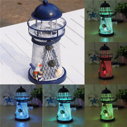Mediterranean Iron Lighthouse Craft Ornaments Ocean Home Decor LED Candle Light Caldleholder