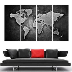 World map framed paintings houseofunik 4pieces framed wall art picture gift home decoration canvas print painting black and white world map gumiabroncs Choice Image