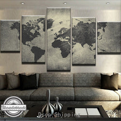 5 Pieces Canvas Painting Art Modern Black World Map Paintings On Canvas Wall Art For Home Decorations Wall Decor Artwork