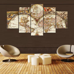 5 Pieces Canvas Painting World Map Picture Canvas Poster Print Home Decor Wall Art Modular Painting for Living Room ny-670
