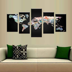 5 Pieces/Set Hot The World Map Poster Pictures For Living Room HD Print On Canvas Oil Painting Wall Art Home Decorative Artwork