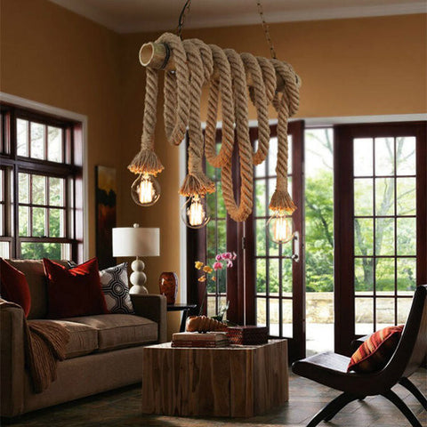 2.5M Retro Single Head Rope Pendant Light Hand Knitted Hemp Loft Fixture For Restaurant Bedroom