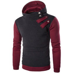 Mens Fashion Casual Sports Hooded Sweater Hedging Oblique Zipper Contrast Color Hoodies