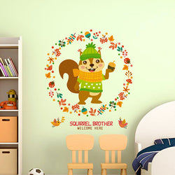 Children Cartoon Squirrel Wall Stickers Room Decor Kids Room Removable Window Glass Stickers