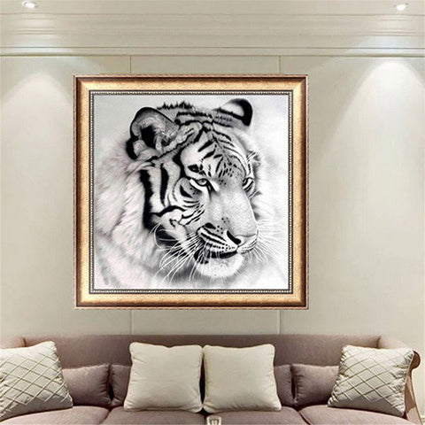 12x12 Inches Black-and-white Tiger 5D Diamond Painting Embroidery DIY Craft Home Decor