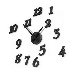 Black 3D Wall Clocks DIY Big Numbers Watch Wall Sticker Decal Clocks Home Decor