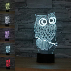 Loskii DL-3D2 Owl USB Battery 3D LED Lights Colorful Touch Control Night Light Home Decor Gift