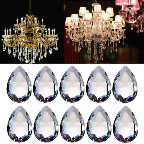 10PCS Clear Chandelier Glass Crystal Lighting Prisms Hanging Drops Pendants 38MM acs