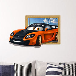 3D Kids Room Decoration Sports Car Wall Decals Boys Room Removable Paper Stickers