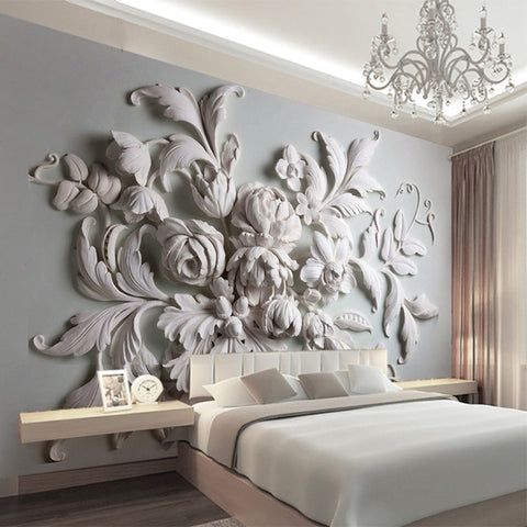 aesthetic european style flower relief tv background wall painting