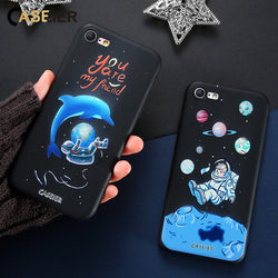 CASEIER For iPhone 8 7 Plus Cases 3D Embossed Patterned Soft Silicon Covers For iPhone 8 7 Capa Soft TPU Conque Shell Space Star