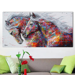 Canvas Art Animal Two Running Horse Horses Decorative Wall Art Picture Home Decor for Living Room Wall Decoration