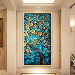 Canvas Painting Hand Painted palette knife 3D texture Flower Tree Wall Pictures For Living Room Christmas decorations for home