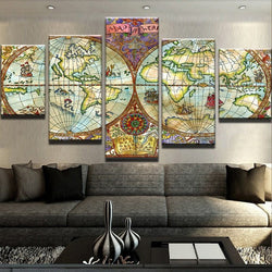 Canvas Wall Art Modular Picture Landscape 5 Panel World Map Canvas Painting Modern Living Room Decorative Frames PENGDA