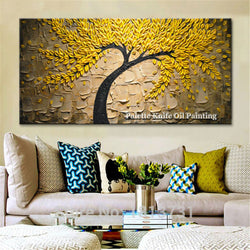 Canvas painting Palette Knife tree wall art wall pictures for living room home decor 3D texture painting quadros caudros decor