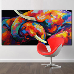 Colorful two elephant Canvas Painting HD Printed on canvas Painting for living room Wall Art Picture for Living Room