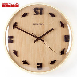 Crazy Time Reversal 3D Digital 31.5cm Wood Glass Modern Design Wall Clock Home Decor Antique Wood Wooden Wall Clock Art Design