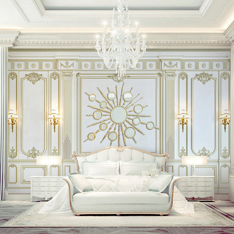 Custom Any Size 3D Mural Wallpaper European Style Stereo Golden Square Frame Photo Wall Painting