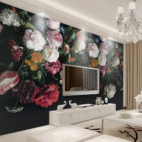 Custom Any Size 3D Wall Murals Wallpaper Retro Hand Painted Floral Painting Living Room Bedroom
