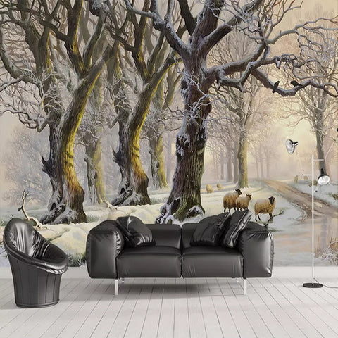 Custom Any Size Mural Wallpaper 3D Stereoscopic Oil Painting Beautiful Snow Forest Tree Photo Wallpapers For