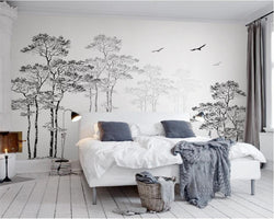 Custom Wallpaper Home Decorative Mural Black & White Sketch Abstract Tree Flying Bird TV Background walls 3d wallpaper Beibehang