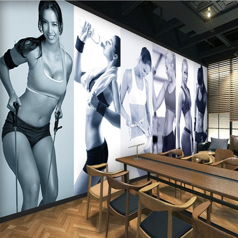 Custom photo wallpaper Fitness beauty background wall mural gym