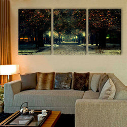Free Shipping E-HOME Stretched LED Canvas Print The Neon Lights on The Pine LED Flashing Optical Fiber Print Set