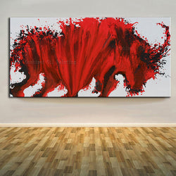 Free Shipping High Skills Artist Hand-painted High Quality Modern Abstract Red Bull Oil Painting On Canvas Modern Bull Painting