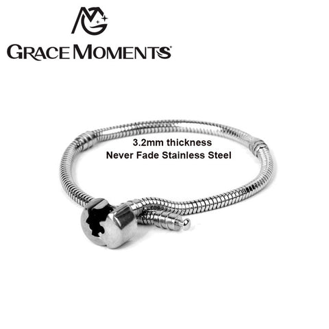 Grace Moments 3.2mm Thickness Never Fade Stainless Steel Bracelet Snake Chain Wrist Bracelet for Women DIY Jewelry Making Gifts