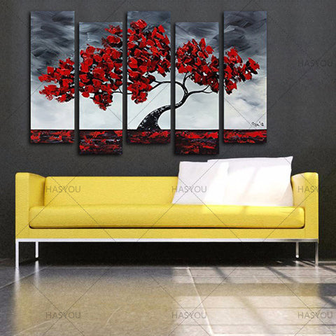 HASYOU 100%Handmade 5 Piece Landscape Oil Paintings On Canvas Wall ...