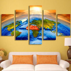 HD Printed Canvas Wall Art Pictures Home Decor Poster 5 Pieces Sun Outer Space Earth World Map Painting Modular Frame PENGDA