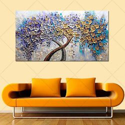 Hand Painted knife gold flower Oil Painting on Canvas landscape oil painting Wall art Picture for Living Room home decorativon