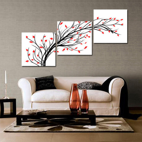 Handpainted 3 Panel Black White Red Wall Art Modern Abstract Oil Painting  On Canvas For Living ...