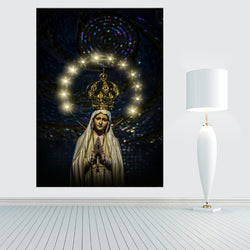 LED Canvas Painting Mother of God Virgin Mary LED Flashing Optical Fiber Picture Blessing Gift for Home Decoration