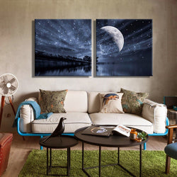LED Canvas Painting The Starry Sky of The Lake Optical Fiber Print Wall Picture Home Decor (2PCS)