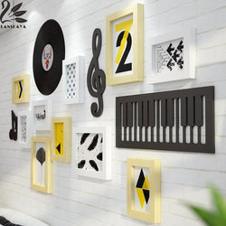 Unik Music Notation Solid Wood Photo Frame Wall New Classical Multi-frameposter Family Diy Paper Poster Wood Frame