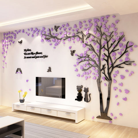 ... Large Size Couple Tree Mirror Wall Stickers TV Backdrop DIY 3D Acrylic  Autocollant Mural Home Decor ...