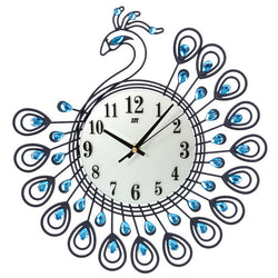Luxury Diamond Peacock Wall Clock Metal Fashion Silent Wall Watch Home Decor Creative Large Wall Clock for Living Room