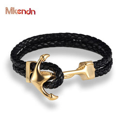 MKENDN Genuine Handmade Braided Vintage Leather  Anchor Bracelets Men Stainless Steel Punk Jewelry Pulseras